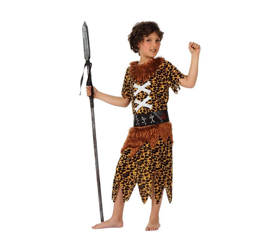 Disfraz de Troglodita o Cavernícola para niños de 5 a 6 años. Incluye vestido y cinturón. Lanza NO incluida, podrás verla en la sección de Complementos.