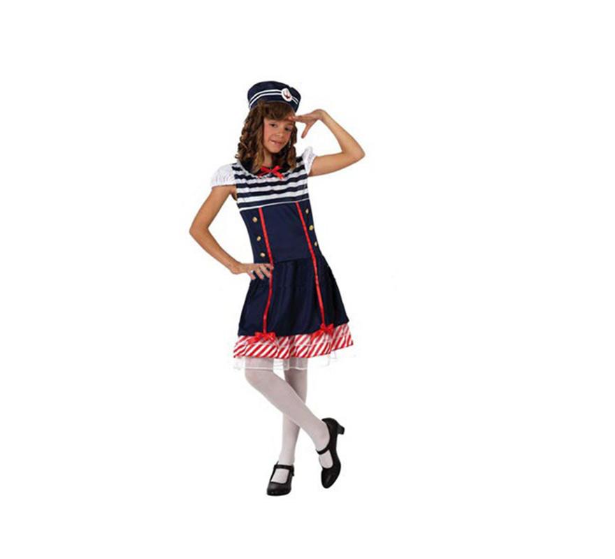 Disfraz de Marinera para niñas de 5 a 6 años. Incluye vestido y gorro. Zapatos y medias NO incluidas.