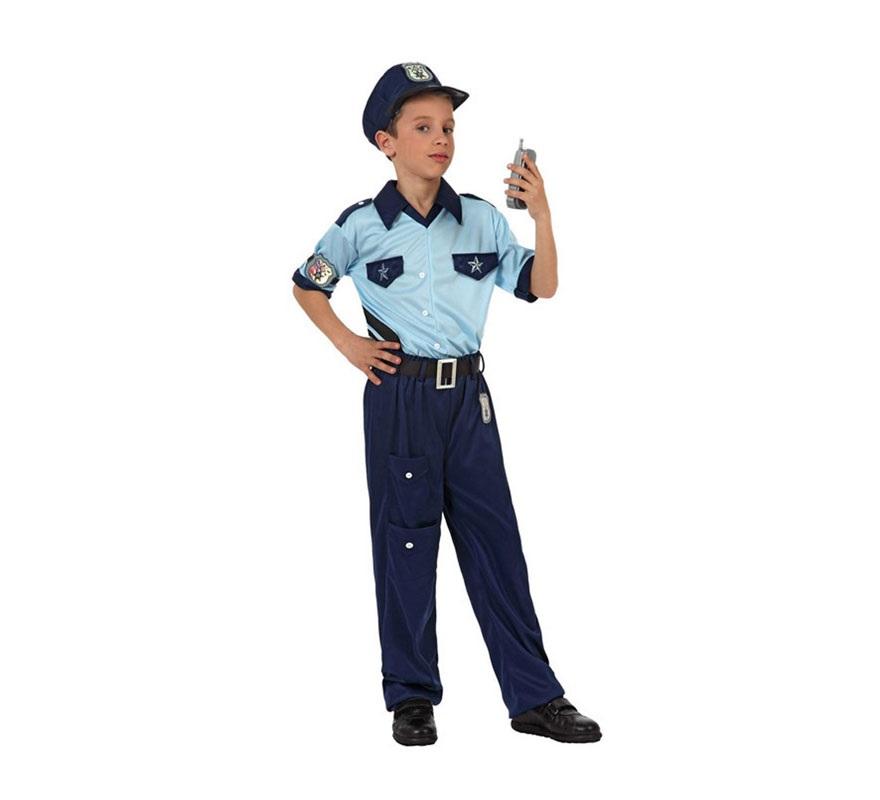Disfraz de Policía para niños de 7 a 9 años. Incluye pantalón, camiseta y gorra.