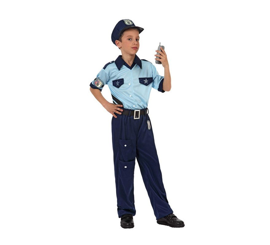 Disfraz de Policía para niños de 10 a 12 años. Incluye pantalón, camiseta y gorra.