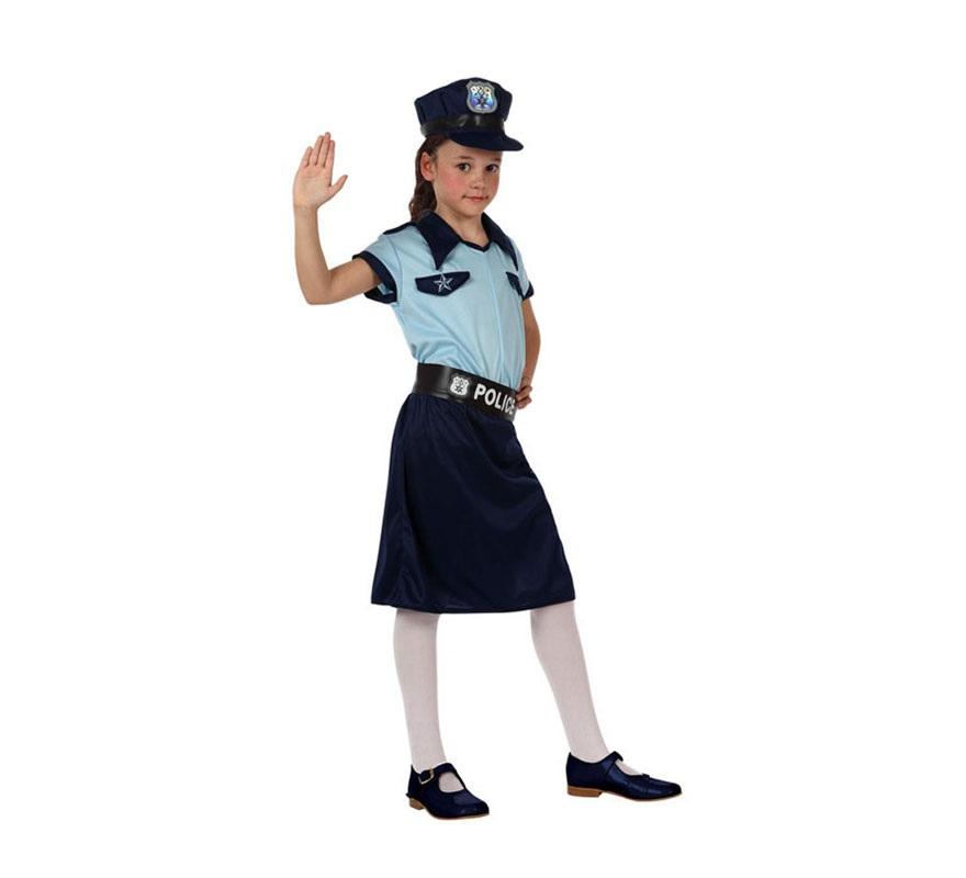 Disfraz de Policía para niñas de 3 a 4 años. Incluye falda, cinturón, camisa y gorra.