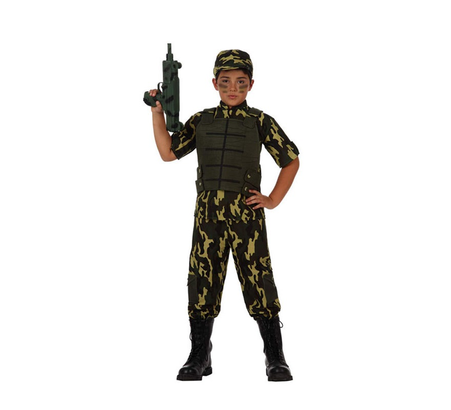 Disfraz de Camuflaje Militar para niños de 7 a 9 años. Incluye traje, chaleco y gorra. Podrás ver metralletas en la sección de Complementos.