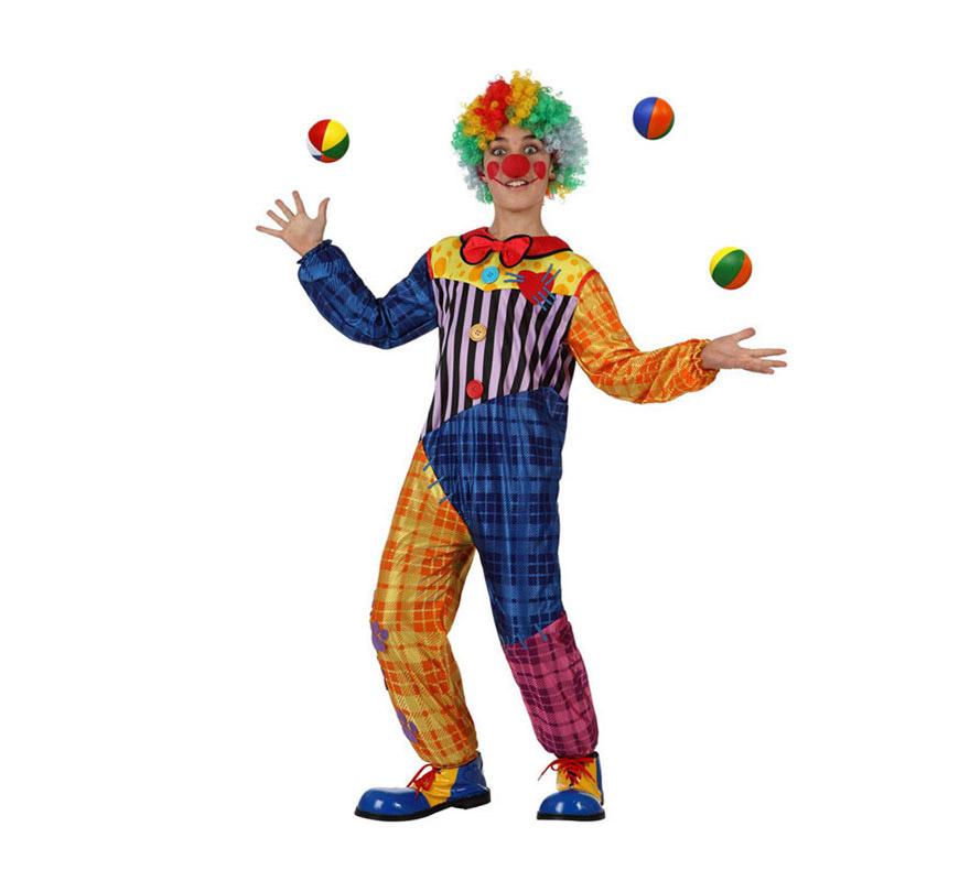 Disfraz de Payaso colores para niños de 7 a 9 años. Incluye mono. Pelotas, peluca, zapatos, y nariz NO incluido, podrás verlo en la sección de Complementos.