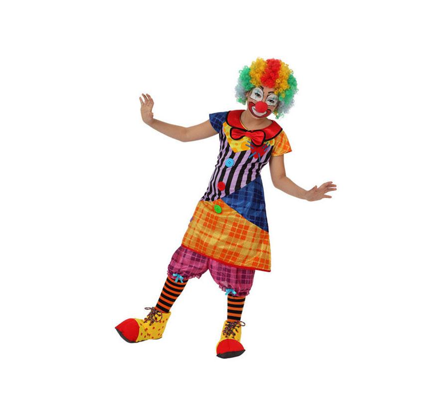 Disfraz de Payasa para niñas de 7 a 9 años. Incluye pololos y vestido. Accesorios NO incluidos, podrás verlos en la sección de Complementos.