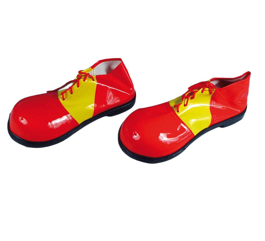Par de Zapatos o Zapatones de Payaso para mujer de 30 cm. rojo y amarillo.