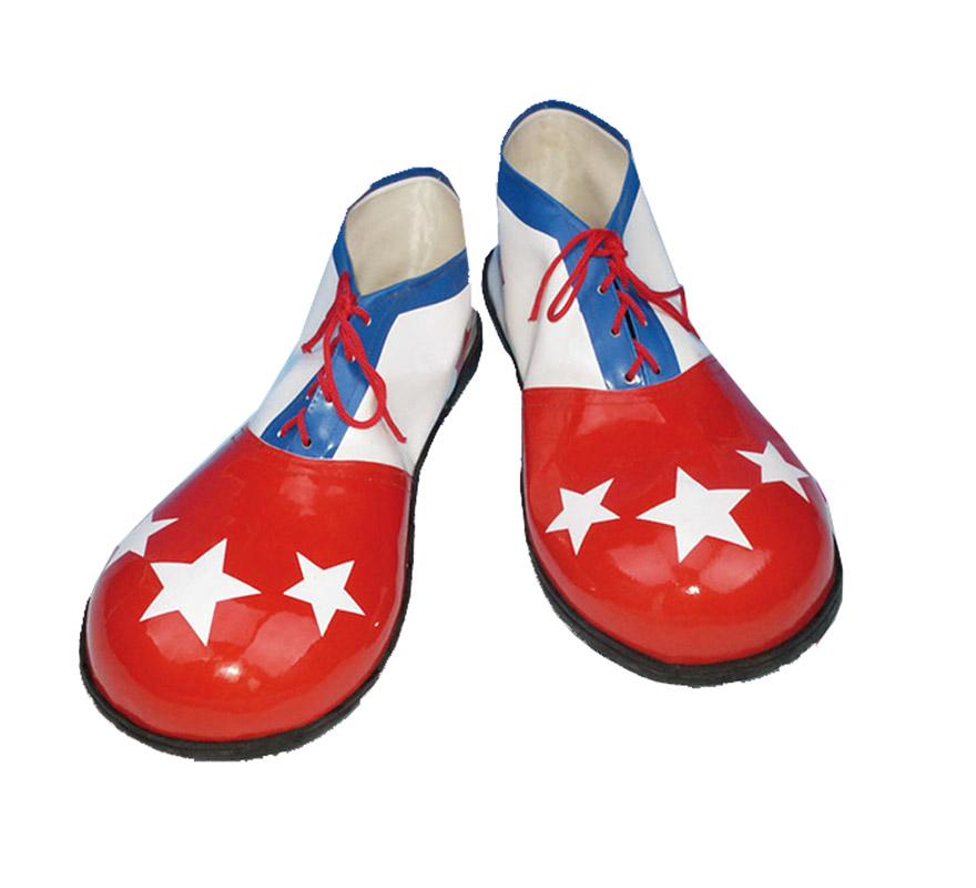 Par de Zapatos o Zapatones de Payaso para mujer de 30cm. con estrellas.