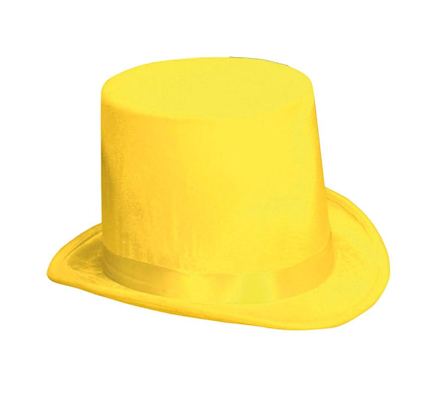 Chistera o Sombrero de Copa de Terciopelo amarillo.
