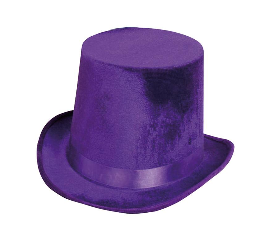 Chistera o Sombrero de Copa de Terciopelo morada.