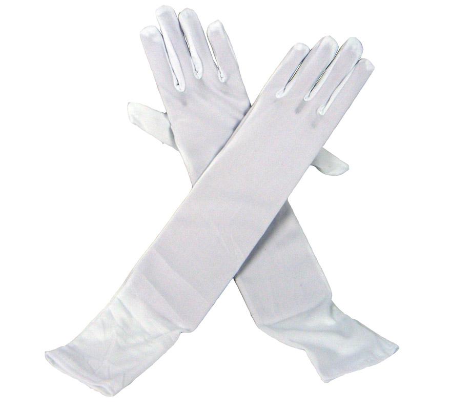 Guante liso BLANCO de 45 cm. Son como los de la imagen pero de color blanco.