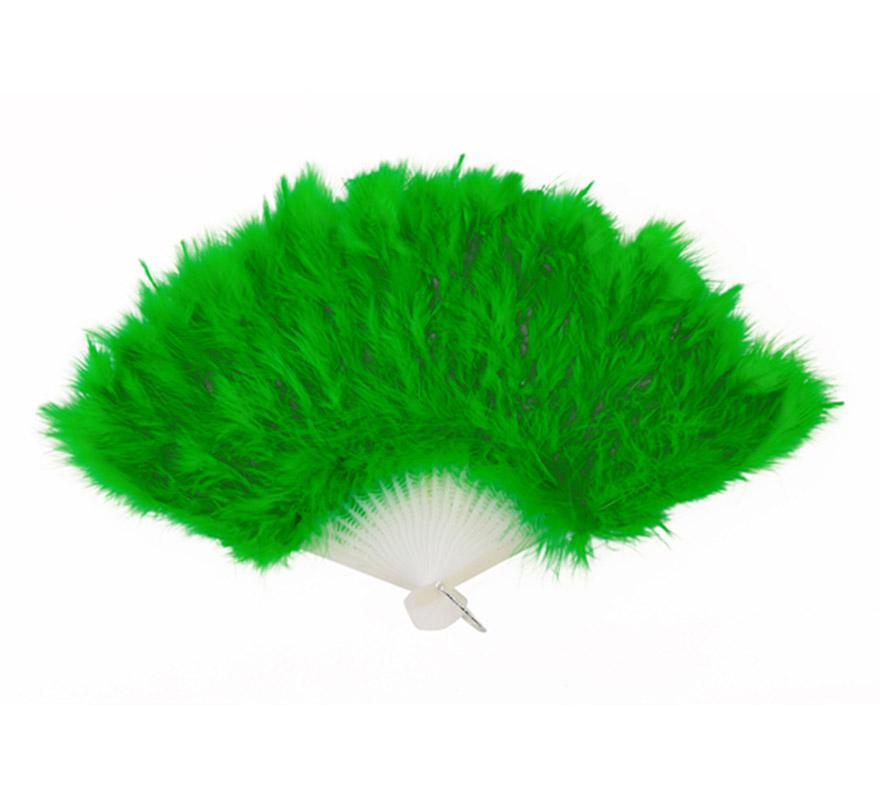 Abanico de plumas verde de 28 cm. para Carnaval y Halloween. Ideal como complemento de los disfraces de Charlestón, Can Can y Cabaret.