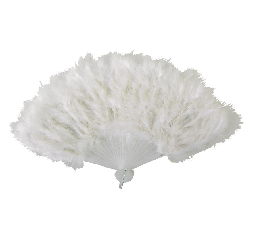 Abanico de plumas blanco de 28 cm. para Carnaval y Halloween. Ideal como complemento de los disfraces de Charlestón, Can Can y Cabaret.