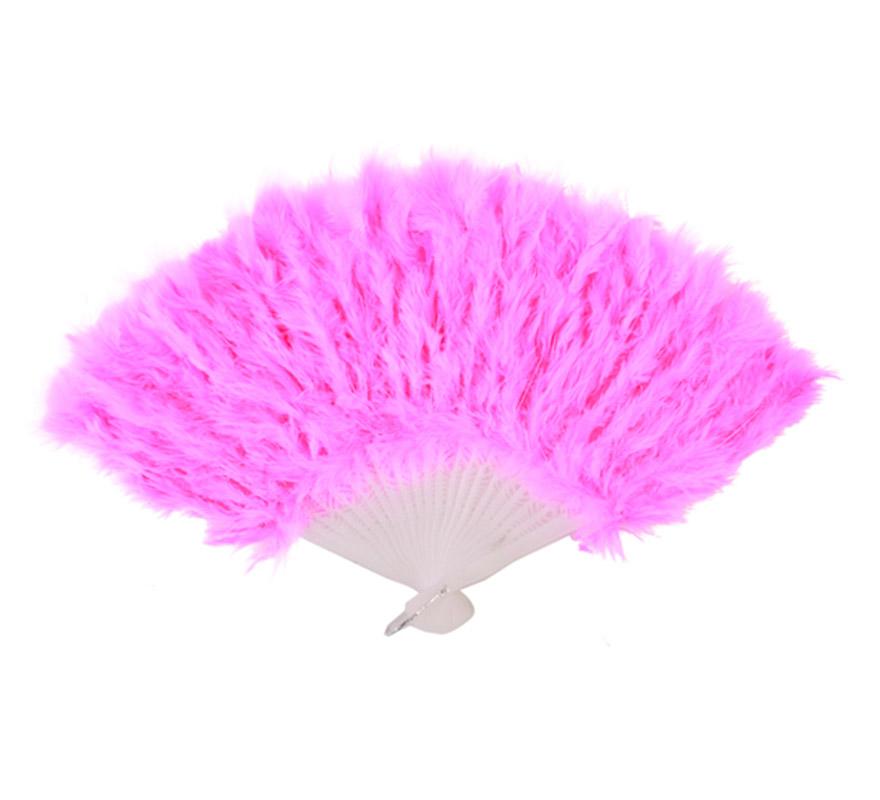 Abanico de plumas fucsia de 28 cm. para Carnaval y Halloween. Ideal como complemento de los disfraces de Charlestón, Can Can y Cabaret.