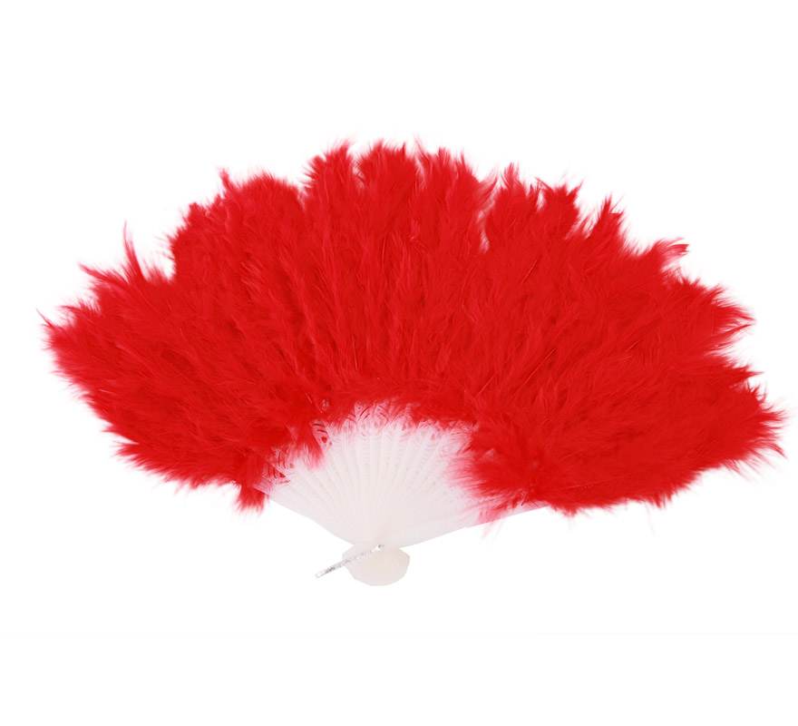 Abanico de plumas rojo de 28 cm. para Carnaval y Halloween. Ideal como complemento de los disfraces de Charlestón, Can Can y Cabaret.