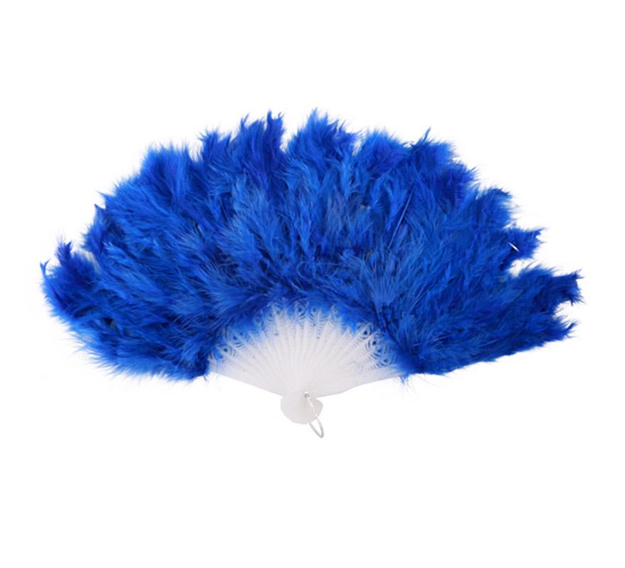 Abanico de plumas azul de 28 cm. para Carnaval y Halloween. Ideal como complemento de los disfraces de Charlestón, Can Can y Cabaret.