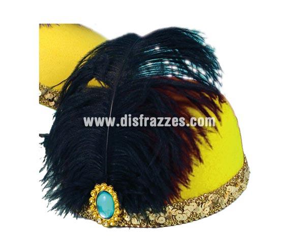 Sombrero Cabaret 17x18,5cm de color amarillo para Carnaval. Talla universal de adultos. Ideal también como complemento de tu disfraz de Charlestón. También nos lo han pedido para alguna Despedida de Soltera.