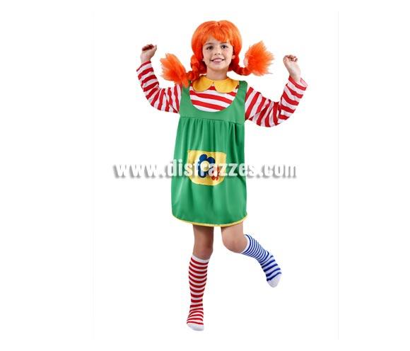 Disfraz barato de Pipi Calzaslargas infantil para Carnaval. Talla de 10 a 12 años. Incluye vestido y calcetas. Peluca NO incluida, podrás verla en la sección Complementos.