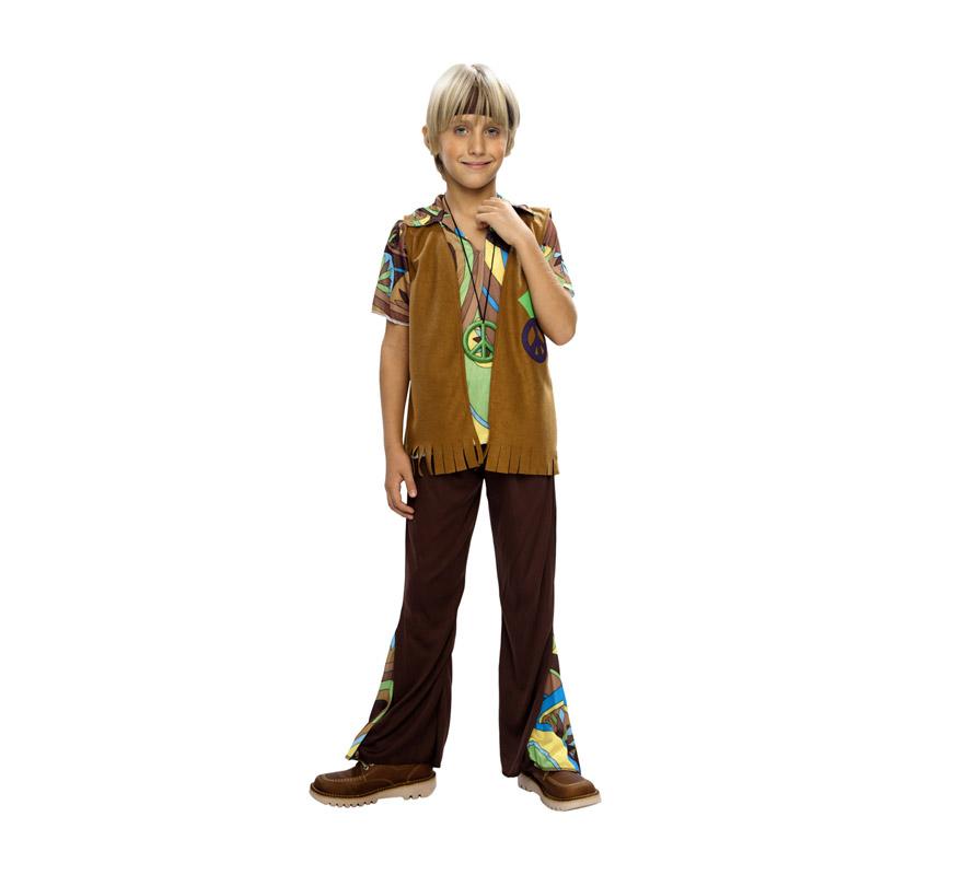 Disfraz barato de niño Hippie infantil para Carnavales. Talla de 5 a 6 años. Incluye camisa, pantalón, chaleco, cinta de la cabeza y medallón.