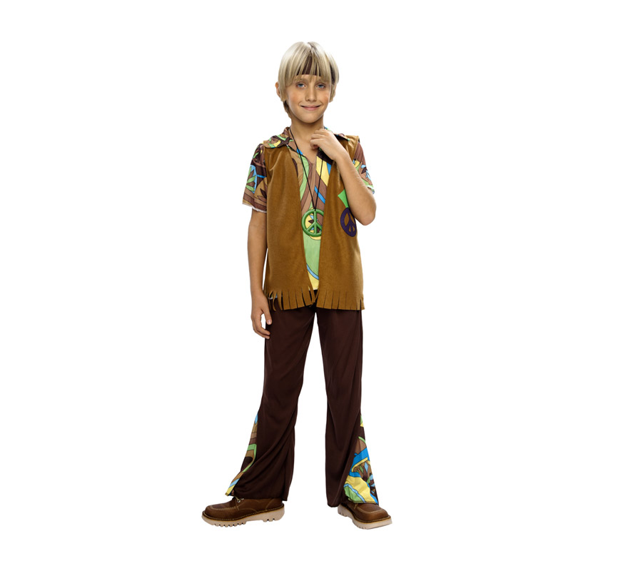 Disfraz barato de niño Hippie infantil para Carnavales. Talla de 7 a 9 años. Incluye camisa, pantalón, chaleco, cinta de la cabeza y medallón.