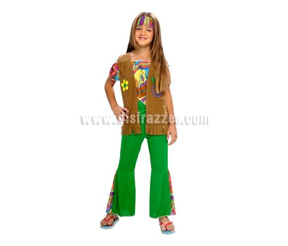 Disfraz de niña Hippie infantil para Carnavales. Talla de 7 a 9 años. Incluye top, chaleco, pantalones y cinta de la cabeza.