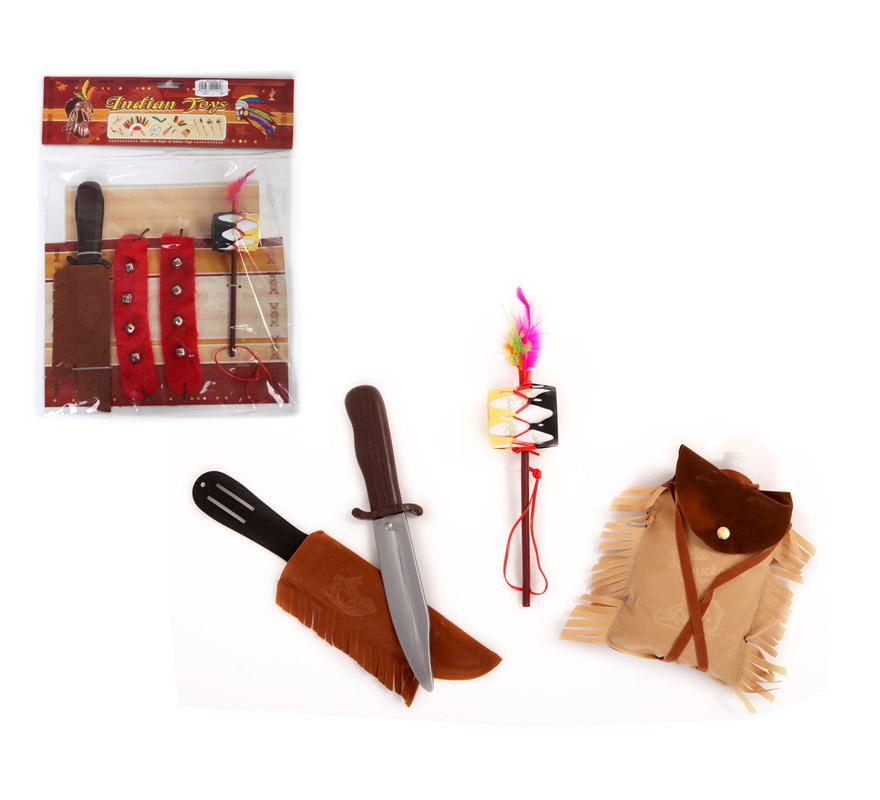 Set de Accesorios Danza India.Compuesto de penacho, cuchillo y tamborcillo. Set de Chamán Indio.