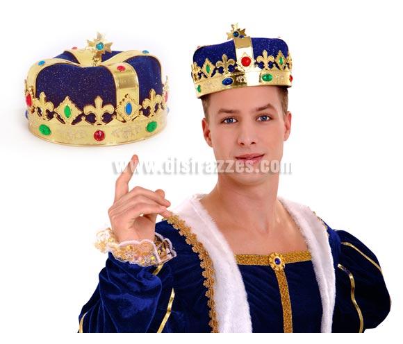 Gorro de Rey azul y dorado con diamantes de plástico.
