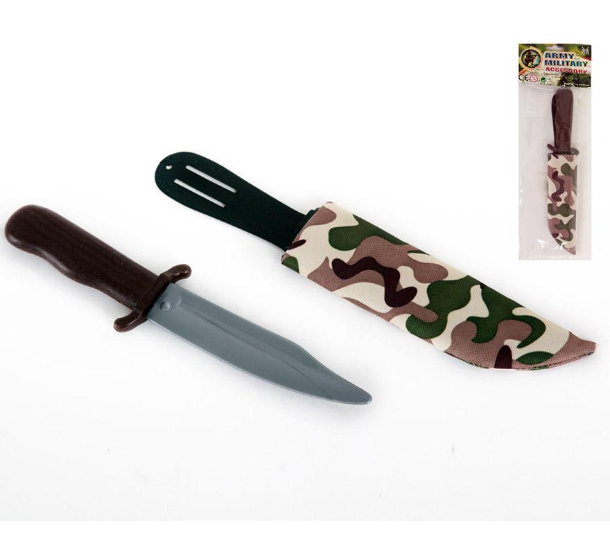 Puñal o Cuchillo Militar de plástico con funda de 29 cm.