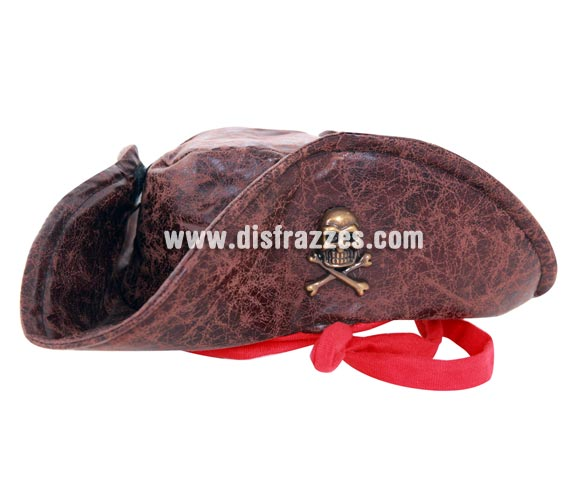 Sombrero de Pirata marrón con Calavera cromada. El complemento ideal para disfrazarte de los Piratas del Caribe.