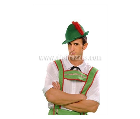 Gorro verde de Tirolés con pluma roja para Carnaval. Talla Universal.