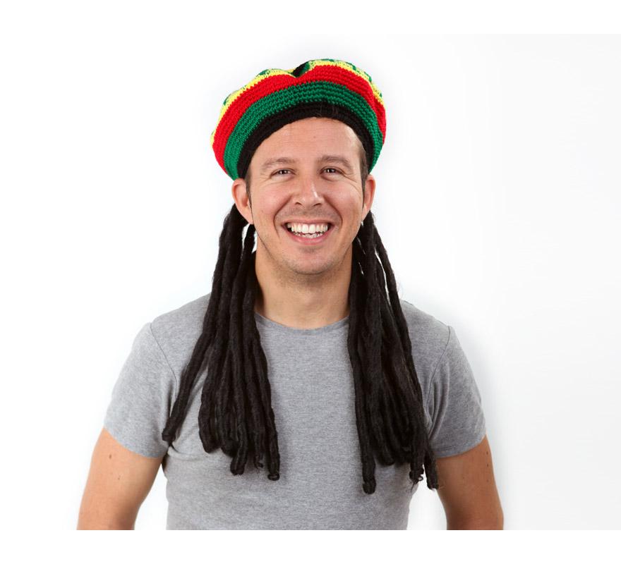 Sombrero con peluca Rastafari o Bob Marley.