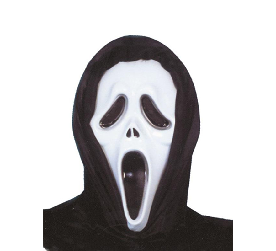Careta Scream de plástico con capucha para Halloween.