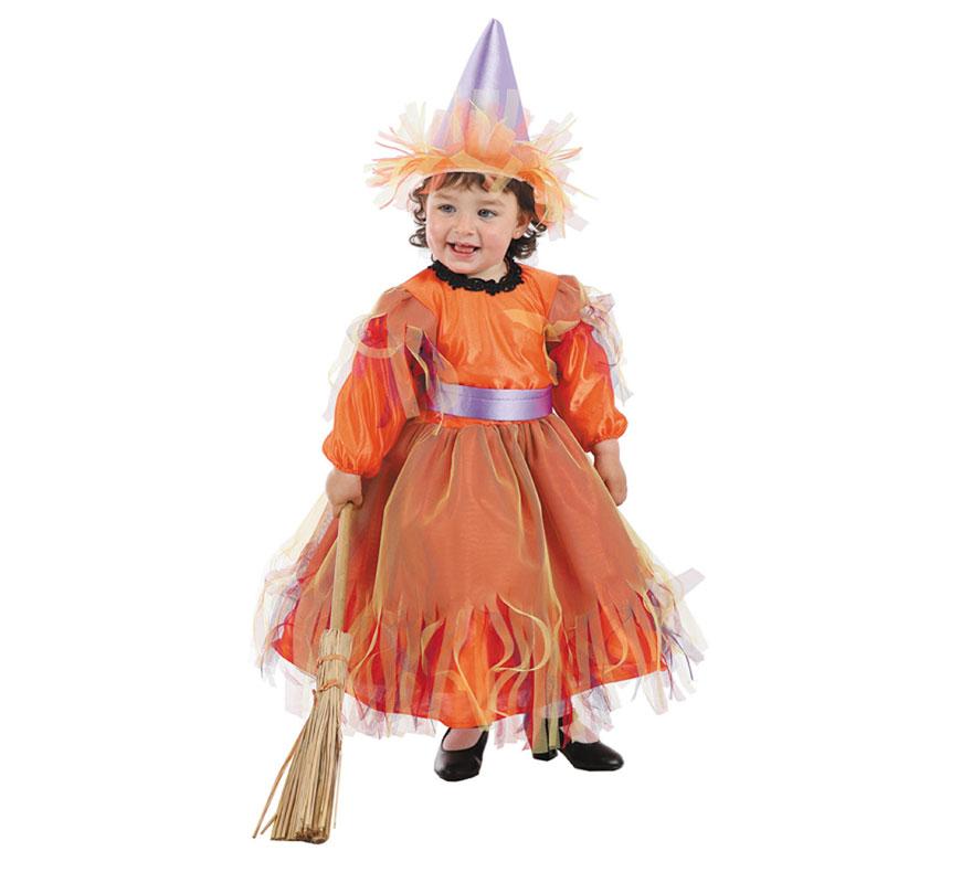 Disfraz de Brujita para Bebés. Disponible en varias tallas. Incluye vestido, gorro y cinturón. Escoba NO incluida, podrás verla en la sección de Complementos. Fabricado en España.