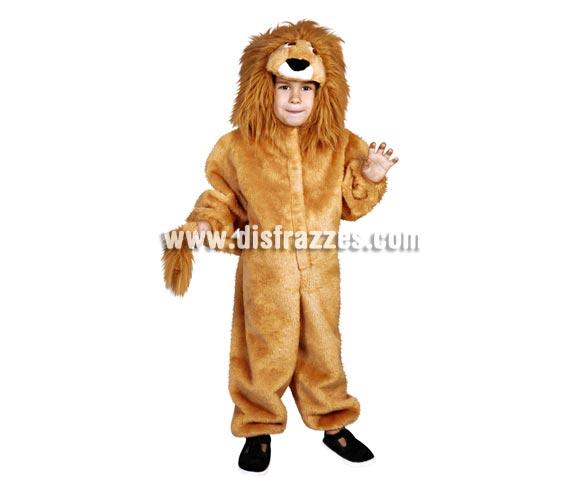 Disfraz barato de León infantil para Carnaval. Talla de 5 a 6 años. Incluye mono y cabeza.