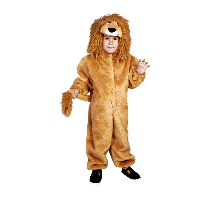 Disfraz barato de León infantil para Carnaval. Talla de 7 a 9 años. Incluye mono y cabeza.