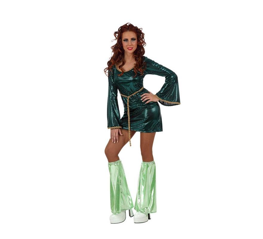 Disfraz Chica Disco vestido verde para mujer. Talla 2 ó talla Standar M-L 38/42. Incluye vestido y cubrepiernas. Para sentirse como las cantantes de ABBA y viajar al pasado donde se lo pasaban en grande bailando en la Discoteca.