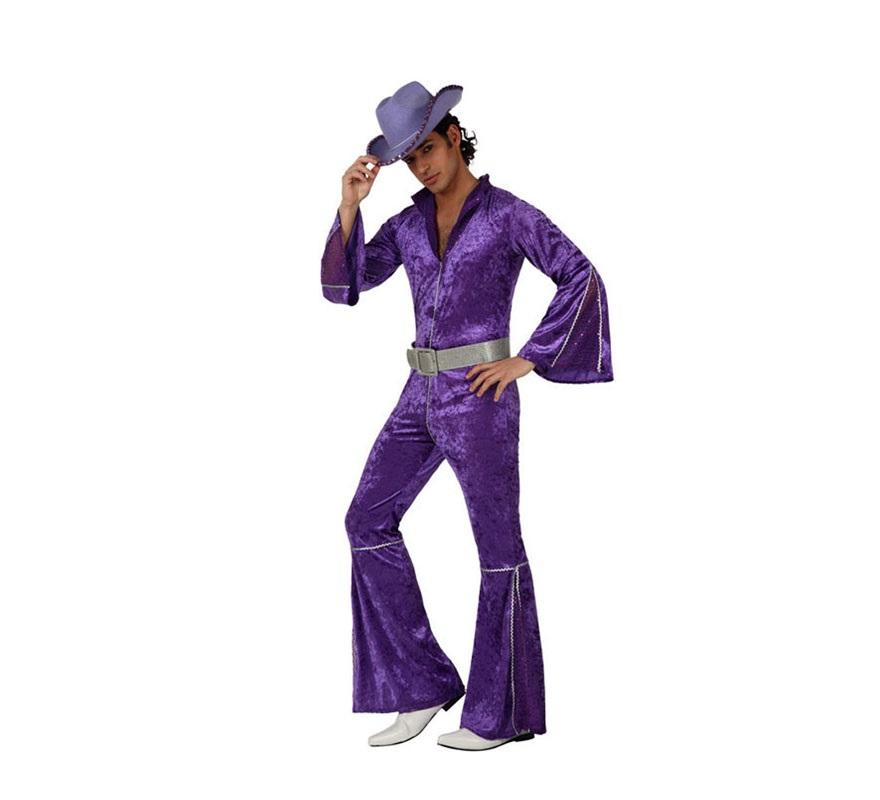 Disfraz Chico de la Disco de Terciopelo púrpura para hombre. Talla M-L 52/54. Incluye mono. Sombrero NO incluido, podrás encontrar Sombreros en la sección de Complementos. Perfecto para disfrazarse de Abba.