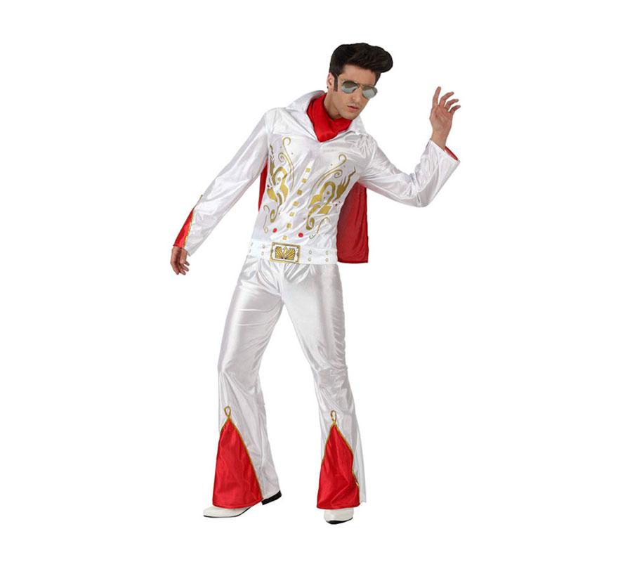 Disfraz de Cantante de Rock para hombre. Talla 3 ó talla XL 54/58. Incluye disfraz completo SIN gafas ni peluca. Podrás ver éstos accesorios en la sección de Complementos. Zapatos NO incluidos. Con éste disfraz podrás imitar al mítico Elvis y pasar un rato genial.