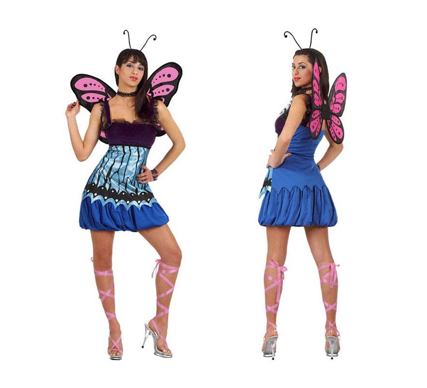 Disfraz de Mariposa Salvaje para mujer. Talla XL 44/48. Incluye vestido, alas y antenas.