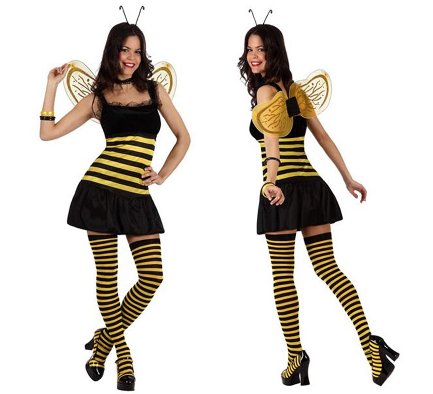 Disfraz de Abeja Sexy para mujer. Talla 2 ó talla Standar M-L 38/42. Incluye vestido, alas, collar y antenas. Medias NO incluidas, podrás verlas en la sección de Complementos.