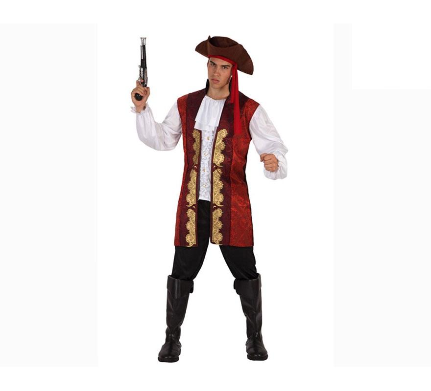 Disfraz de Pirata lujo para hombre. Talla 3 o talla XL = 54/58. Incluye pantalón, chaleco, camisa, y sombrero. El trabuco podrás verlo en la sección de Complementos.