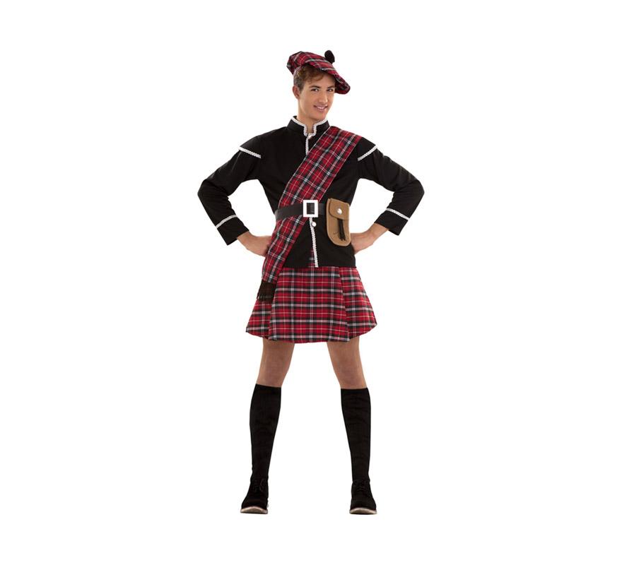 Disfraz de Escocés pequeño para hombre. Talla S = 48/52 o también valdría para adolescentes y hombres delgados. Incluye boina, chaqueta, manto, cinturón, bolso y falda. Éste disfraz está en talla M-L con la referencia 02674BT y en talla XL con la ref. 05234BT.