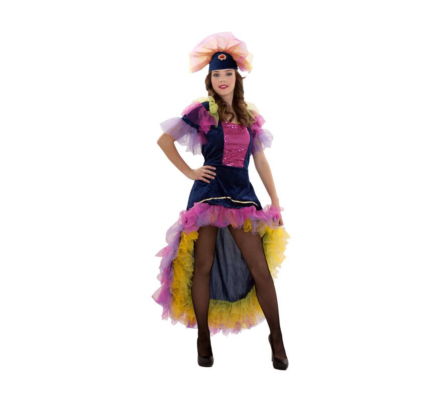 Disfraz de Salsa talla S para mujer. Talla S = 34/38 ideal para adolescentes y para chicas delgadas. Incluye vestido y tocado del pelo. Disfraz de Caribeña, Rumbera o Brasileña para mujer.