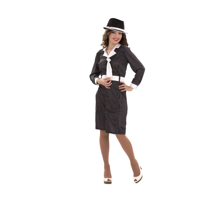 Disfraz de Gánster talla S para mujer. Talla S = 34/38 ideal para adolescentes y para chicas delgadas. Incluye vestido con cuello y corbata y cinturón. Sombrero NO incluido, podrás verlo en la sección de Complementos.