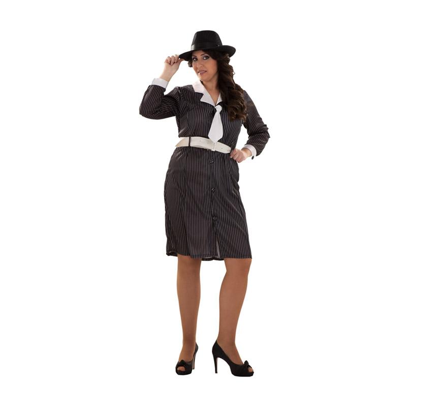 Disfraz de Gánster talla XL para mujer. Talla XL = 44/48. Incluye vestido con cuello y corbata y cinturón. Sombrero NO incluido, podrás verlo en la sección de Complementos.