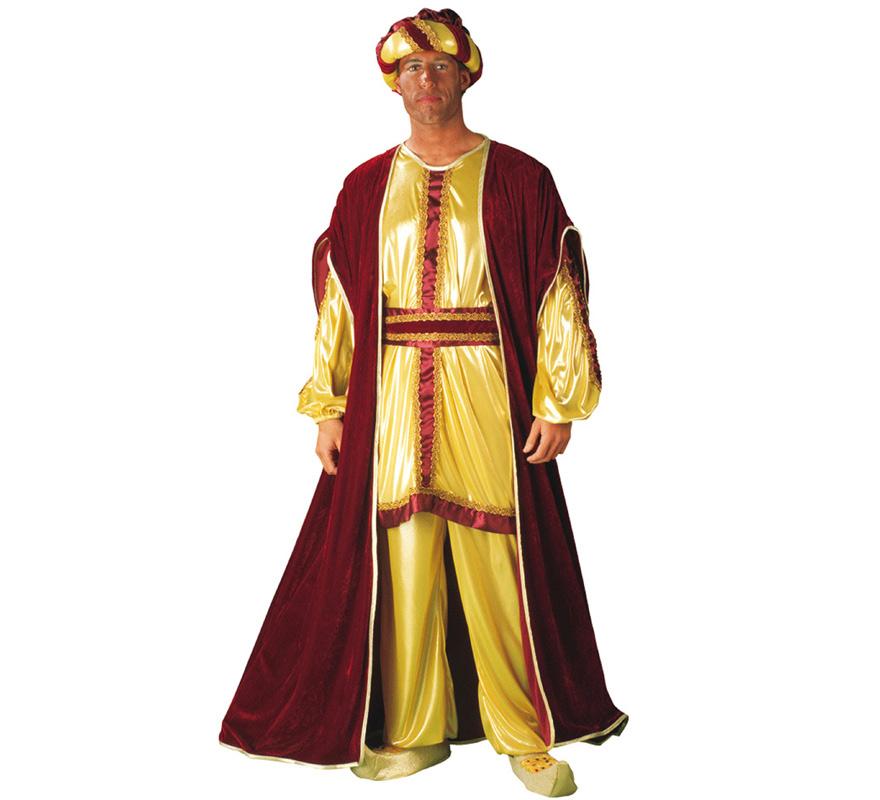Disfraz o traje de Rey Mago Baltasar adulto. Talla Standar de hombre. Contiene pantalón, blusón, capa, cinturón y turbante. Babuchas NO incluidas podrás verlas en la sección de Complementos.