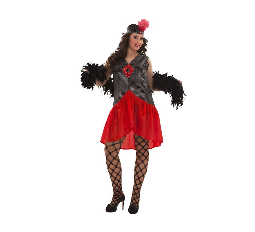 Disfraz de Mujer de los Años 20. Talla XL = 44/48. Incluye tocado y vestido. Boa y medias NO incluidas, podrás verla en la sección de Complementos. Éste disfraz es perfecto para revivir la época de los Gánsters de los Años 20 en América.