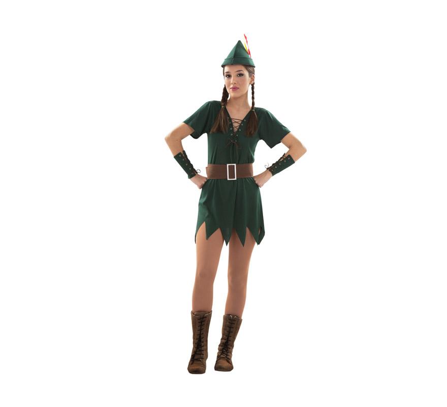 Disfraz barato de Robin Hood Sexy para mujer. Talla S = 34/38 para adolescentes y para chicas delgadas. Incluye gorro, vestido, cinturón y muñequeras. Éste traje es muy pero que muy Sexy y podría servir también como disfraz de Peter Pan sexy de chica.