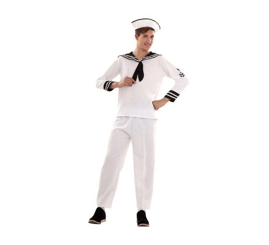 Disfraz de Marinero talla S para hombre. Talla S = 48/52, para adolescentes y para hombres delgados. Incluye gorra, camisa y pantalón.