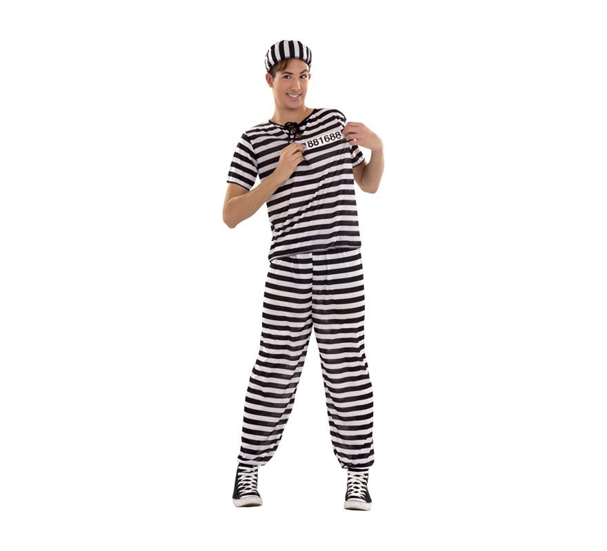 Disfraz de Preso o Prisionero para chicos. Talla S = 48/52 y/o para chicos de 14 a 16 años. Incluye camisa, pantalón, gorro y número. Éste disfra de Presidiario es perfecto para Despedidas de Soltero.