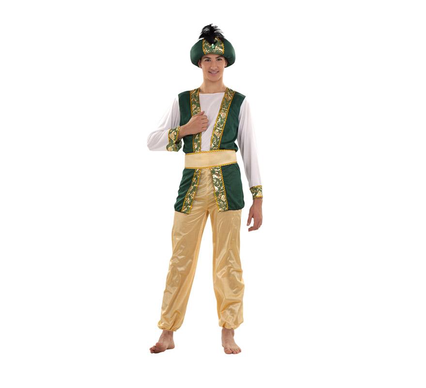 Disfraz de Sultán o Paje Real adulto para Navidad o para Carnaval barato. Talla S 48/52 para chicos delgados o para adolescentes. Incluye pantalón, camisa, cinturón y turbante. Traje de Paje Real para Cabalgatas de Reyes Magos.