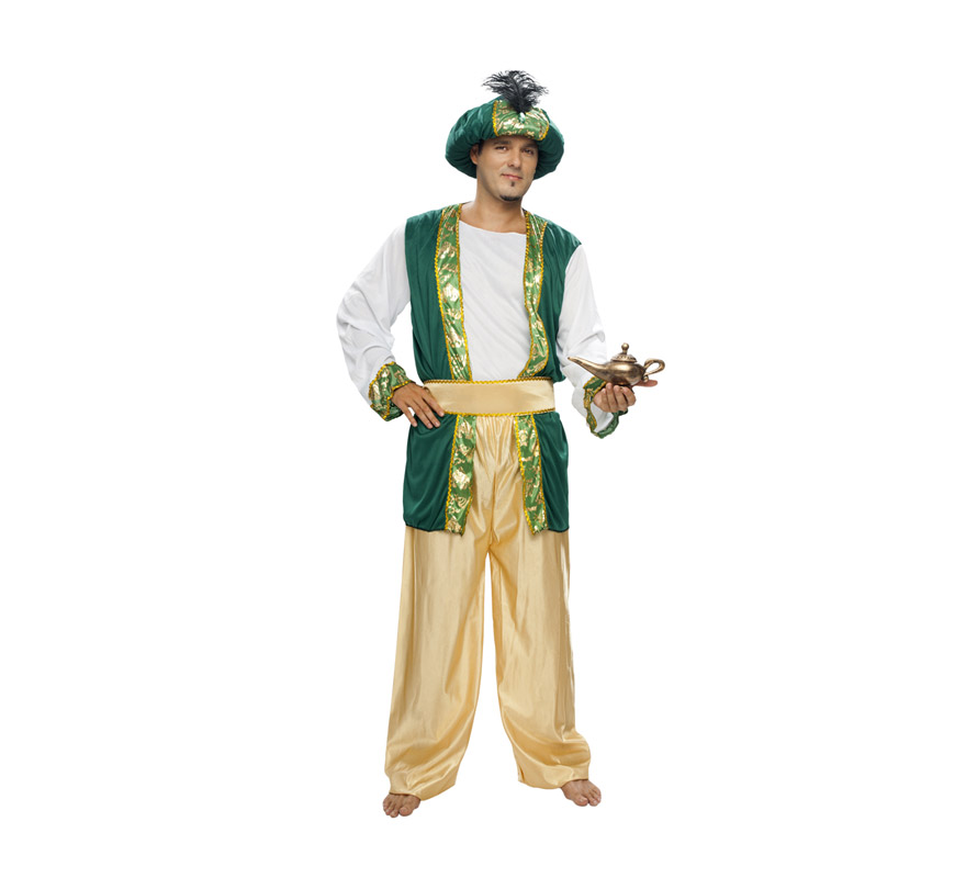 Disfraz de Sultán o Paje Real adulto para Navidad o para Carnaval barato. Talla XL = 54/58. Incluye pantalón, camisa, cinturón y turbante. Babuchas y Lámpara Maravillosa NO incluidas, podrás verlas en la sección de Complementos. Traje de Paje Real para Cabalgatas de Reyes Magos.